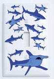 Shark Attack Light Switch Plates and Outlet Covers/Sharks Childrens Nursery Wall Decor