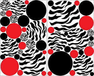 Zebra Print Polka Dot Wall Decals with Red and Black Dots/Zebra Print Wall Decor