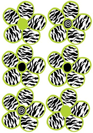 Lime Green and Zebra Print Flower Wall Decals Stickers