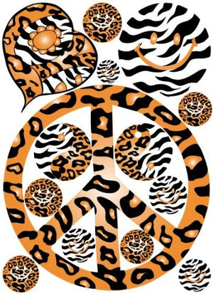 Sixties Theme Orange Peace Sign Leopard, Cheetah, and Zebra Print Wall Decals / Stickers