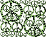 Green Leopard Animal Print Peace Sign Wall Stickers Decals