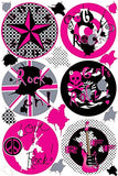 Girls Rock Star Polka Dot Wall Stickers / Rock Star Wall Decals with Paint Splat Wall Decals