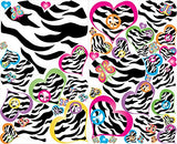 Multicolored Zebra Print Heart Wall Decals / Heart Wall Stickers in Pink, Purple, Blue , Yellow , Green and Orange