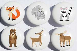 Woodland Forest Animal Drawer Knob Pulls Ceramic Dresser Cabinet Knobs  Fox, Bear, Squirrel, Deer, Moose and a Raccoon.