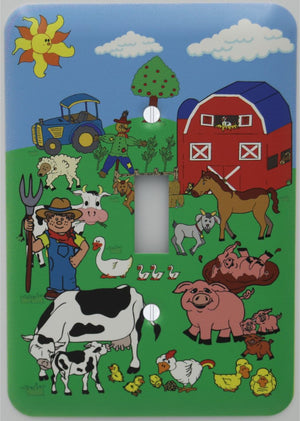 Barnyard Animal Farm Light Switch Plate Cover with Barn , Horse, Goat, Pigs, Ducks, Chickens, and Sheep