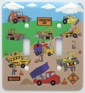 Construction Light Switch Plates Double Toggle with Bulldozers, Cement Truck, and Dump Trucks.