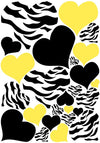 Zebra Print Heart Wall Decals with Black and Yellow Heart Wall Stickers, Graphics