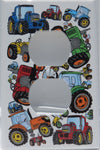 Farm Tractor Outlet Cover Switch Plate/Red, Blue, Orange and Green Tractor Wall Decor