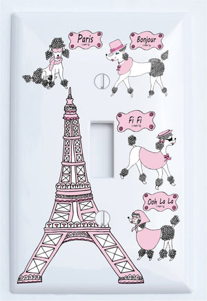 Poodle in Paris Light Switch Plate Covers for The Wall/Paris Room Decor (Single Toogle)