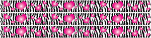 Zebra Print and Hot Pink 3d Hearts Wall Border Decals