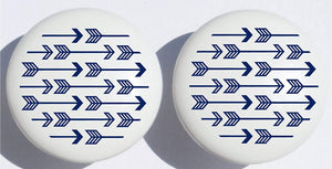 Navy Blue Arrow Print Drawer Knobs/Ceramic Cabinet Pulls Woodland Forest Nursery Decor for Baby Boys (Set of Two)