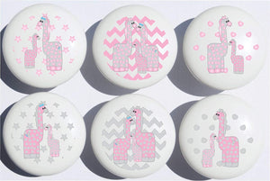 Giraffe Drawer Pulls / Safari Ceramic Cabinet Drawer Knobs / Giraffe Nursery Decor / Set of 6