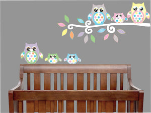 Multicolored Owl Wall Decals with Polka Dots Owl Wall Stickers/Owl Nursery Decor