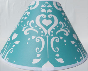 Aqua Damask Lamp Shade / Childrens Lampshade Nursery Decor