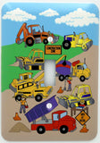 Construction Light Switch Plates Covers Single Toggle with Bulldozers, Tractors, Cement Truck, and Dump Truck