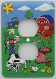 Farm Outlet Switch Plate Cover/Barn Animal Outlet Cover/Barnyard Wall Decor