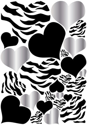 Zebra Print, Silver and Black Heart Wall Stickers,decals, Graphics