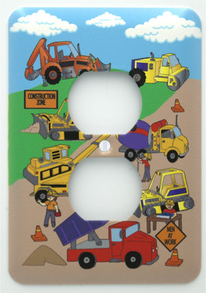 Construction Light Switch Plates Cover Construction Trucks and Tractors Wall Decor