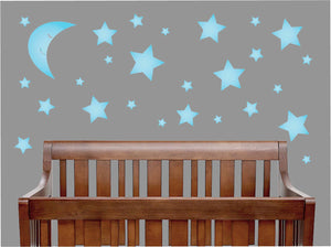 Moon and Star Wall Decals Matching Our Owl and Elephant Wall Decals