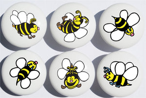 Bee Drawer Pulls / Ceramic Nursery Drawer Knobs