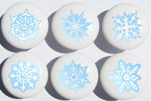 Blue Snow Flakes Ceramic Drawer Knobs/Snowflake Handle Pulls, Set of 6