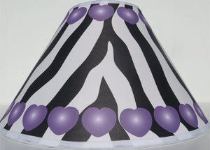 Purple Hearts Zebra Print Lamp Shade / Zebra Print Nursery Decor