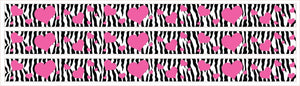 Zebra Print and Pink Hearts Wall Border Decals Stickers