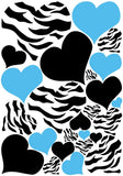 Zebra Print, Black and Blue Heart Wall Stickers,decals, Graphics