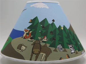 Woodland Forest Animal Lamp Shade, Forest Animal Children's Nursery Decor with, Owls, Birds, Fox, Bear, Squirrel, Deer, Hedge Hog, Moose, Bunny Rabbit and a Raccoons