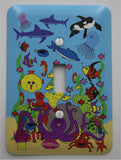 Under Sea Light Switch Plates with Ocean Animals in this Underwater Sea Children's Nursery Wall Decor.