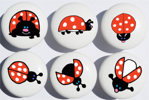 Ladybug Drawer Pulls / Ceramic Drawer Knobs