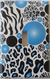 Blue and Black Leopard Print Dots Single Toggle Light Switch Plate Covers with Zebra Print Dots