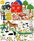 Giant Farm Animal Wall Decals  Stickers with Barnyard Animals, Cows, Sheep, Pigs, Horse, Goats, Chickens, Ducks, Puppy Dog and Cat