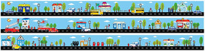 Tiny Town Street Road Wall Border Wall Decal  4.5 inch x 13 Feet of Roads with Cars and Trucks and Buildings