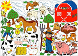 Farm Animals Wall Decals Stickers/Barnyard Animal Wall Decor with Cows, Sheep, Pigs, Horse, Goats, Chickens, Swans, Ducks, and Even a Puppy Dog