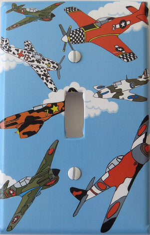 Airplane Light Switch Plate Single Toggle / Airplane Wall Decor