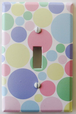 Pastel Multi Colored Dot Light Switch Plate Cover in Pink, Blue, Green, Yellow, and Purple