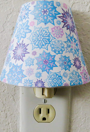 Snowflake Night Light in Pink, Purple and Blue Snowflakes Wall Decor