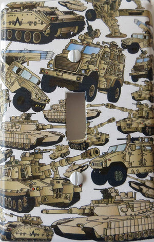 Military Tank Light Switch Plate Covers and Armored Trucks Switch Plates Wall Decor
