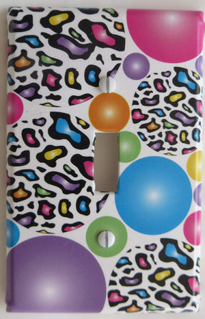 Leopard Print Light Switch Plates Multicolored Rainbow Dots in Blue, Pink, Yellow, Green, and Purple Leopard Dots