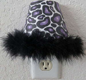 Purple Leopard Print Night Light with Black Feathered Boa in Purple and Black
