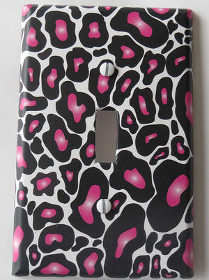 Hot Pink Black Leopard Print Switch Plate Cover