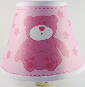 Pink Teddy Bear Night Light With Stars and Moon / Teddy Bear Nursery Decor