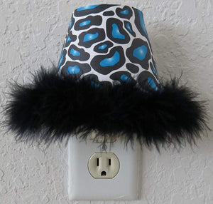 Blue Leopard Print Night Light with Black Feathered Boa in Turquois and Black
