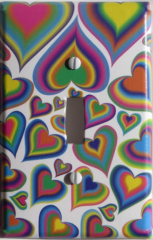 Rainbow Heart Light Switch Plate Cover Multicolored in Blue, Purple, Green, Yellow, Pink and Orange Hearts