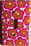 Hot Pink and Orange Daisy Flowers Switch Plate Cover