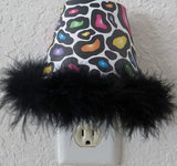 Multicolored Leopard Print Night Light with Black Feather Boa Trim, in Hot Pink, Purple, Blue, Green, Yellow and Orange