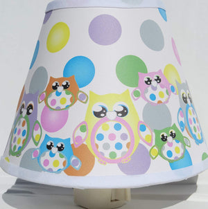 Multicolored Owl Night Lights with Polka Dots / Owl Nursery Decor
