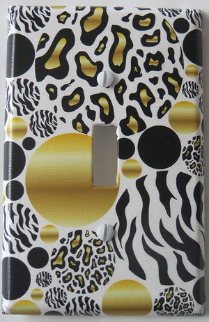 Gold and Black Leopard Print Dots Light Switch Plate Covers with Zebra Print Dots