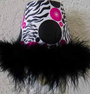 Zebra Print Dots Night Lights with Hot Pink and Black Polka Dots and a Black Boa At Bottom